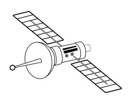 space exploration satellite in black and white icon cartoon vector illustration graphic design