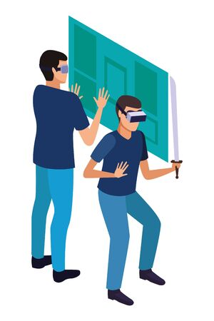 virtual reality technology, young men friends living a modern digital experience with headset glassesand sword touching screen cartoon vector illustration graphic design