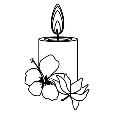 lit candle with lotus flower icon cartoon isolated in black and white vector illustration graphic design