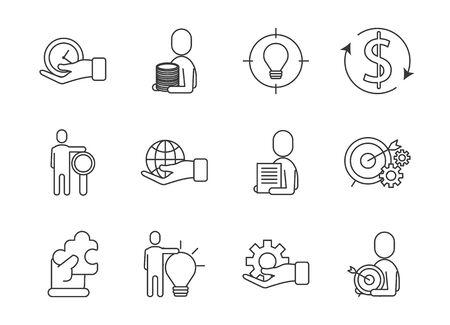 bundle of business success icons vector illustration design Ilustracja