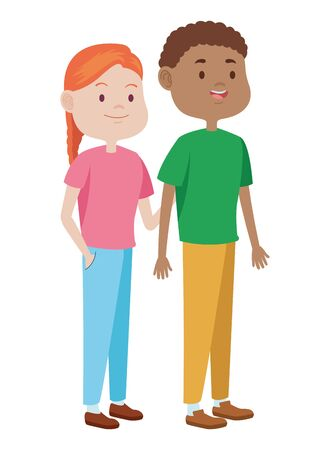 Teenagers friends boy and girl with casual clothes smiling and greeting cartoons ,vector illustration graphic design. Stock Illustratie