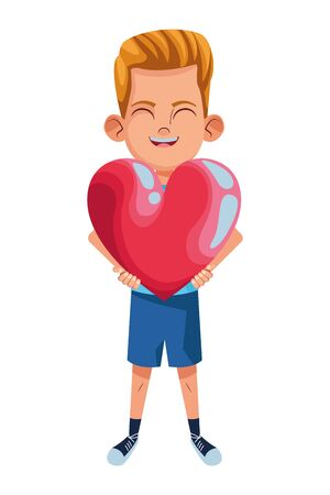 little kid boy carrying big heart avatar cartoon character portrait isolated vector illustration graphic design