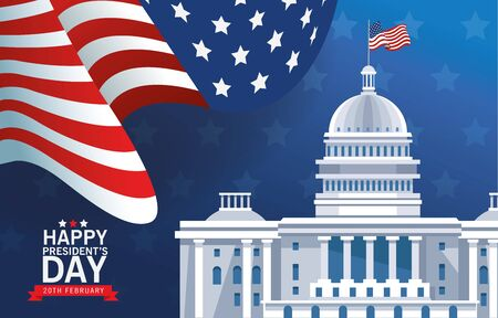 happy presidents day poster with usa capitol building and flag vector illustration design Ilustrace