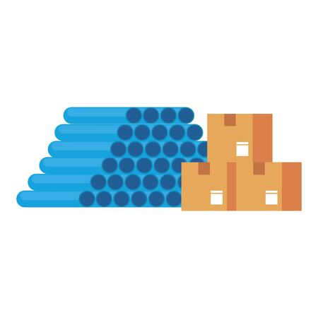 Warehouse pvc pipes and delivery boxes vector illustration