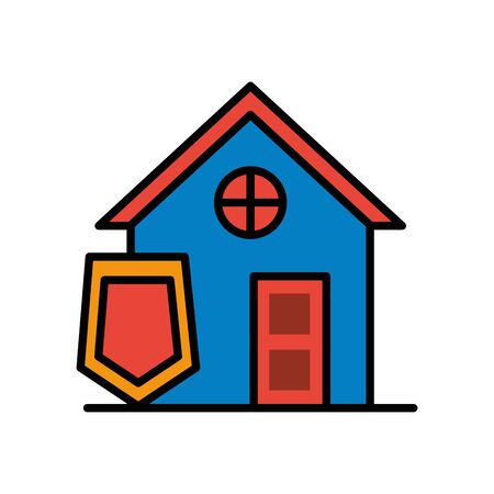 house front facade with shield vector illustration design