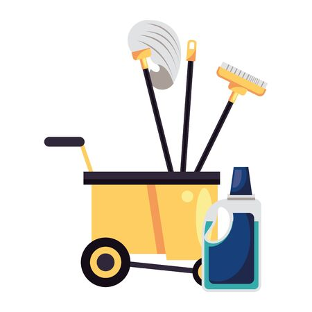 housekepping cart with tools cleaning and bottle product vector illustration design