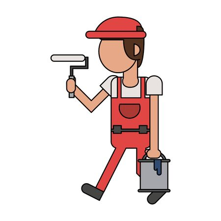 Construction worker smiling and holding paint bucket with pin cartoon isolated vector illustration graphic design 일러스트