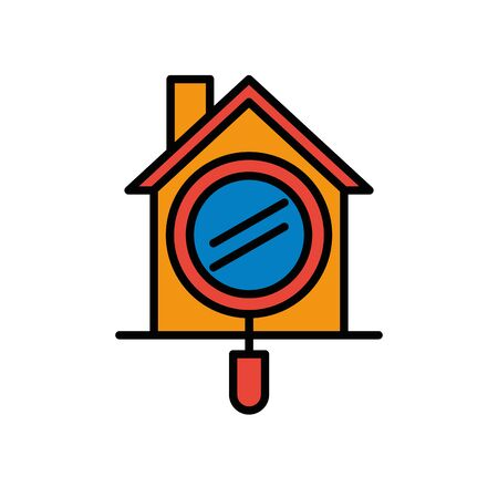 house front facade with magnifying glass vector illustration design