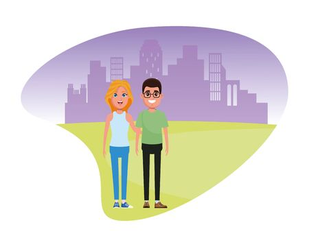 couple avatar man wearing glasses and blonde woman profile picture cartoon character portrait outdoor colorful background Stock Illustratie