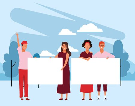 cartoon young people protesting with blank posters in the park over blue background, colorful design. vector illustration Stock Illustratie