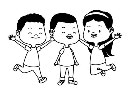 Happy kids smiling and playing with friends cartoon vector illustration graphic design. Stock Illustratie