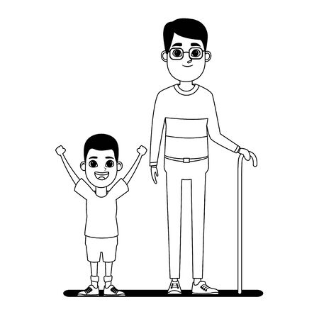 family avatar grandfather with glasses and cane next to afroamerican boy profile picture cartoon character portrait in black and white vector illustration graphic design