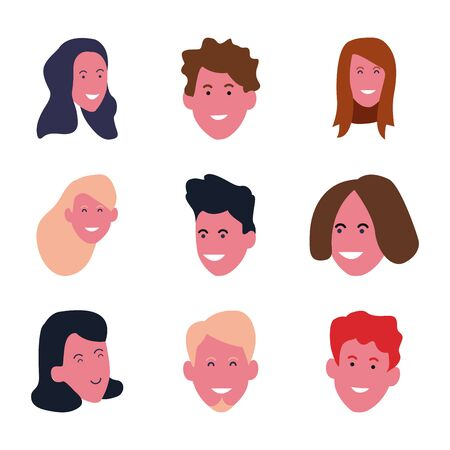 set of young people faces smiling over white background, colorful design. vector illustration Stock Illustratie