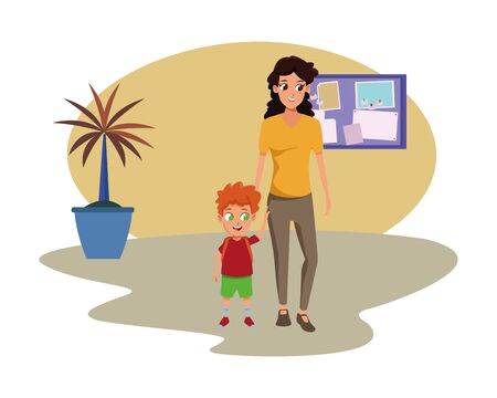 Family single mother with children holding school backpack cartoon inside home with furniture background vector illustration graphic design