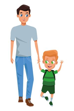 Family single father with kid holding school backpack isolated vector illustration graphic design Stock Illustratie