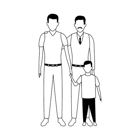 avatar men and little boy icon over white background, vector illustration Stock Illustratie