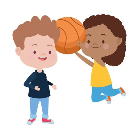 cute little kids playing basketball characters vector illustration design Stock Illustratie