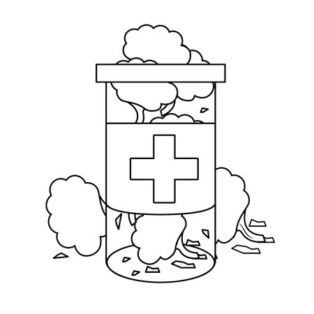 cannabis martihuana marijuana médicale médecine sativa chanvre bourgeons bouteille cartoon vector illustration graphic design