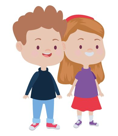 Happy kids boy and girl smiling and playing vector illustration graphic design. Stock Illustratie