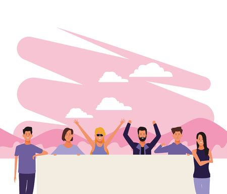 cartoon happy people protesting with blank poster over pink and white background, colorful design. vector illustration Stock Illustratie