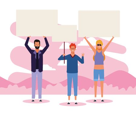cartoon young people protesting with blank placards over white and pink background, colorful design. vector illustration