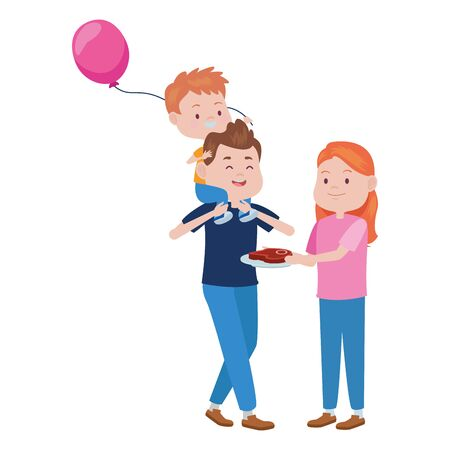 young parents with son and balloon helium vector illustration design