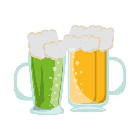 beer glasses fresh alcoholic drinks cartoon vector illustration graphic design Ilustração
