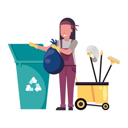 housekepping woman worker with garbage pot vector illustration design Vectores