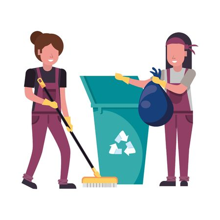 housekepping female workers with equipment characters vector illustration design Vectores