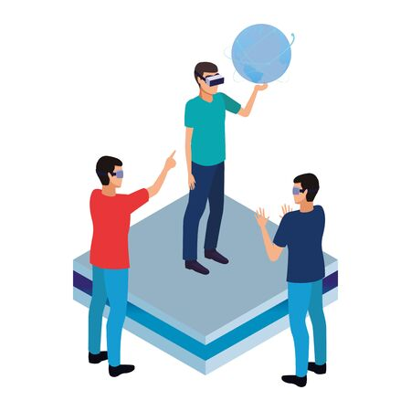 virtual reality technology, young men friends living a modern digital experience with headset glassestouching world map cartoon vector illustration graphic design 向量圖像