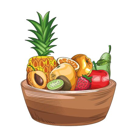 bowl with tropical fruits icon over white background, colorful design, vector illustration