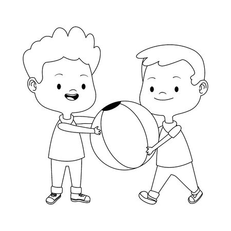 two boys playing with a ball over white background, vector illustration 向量圖像