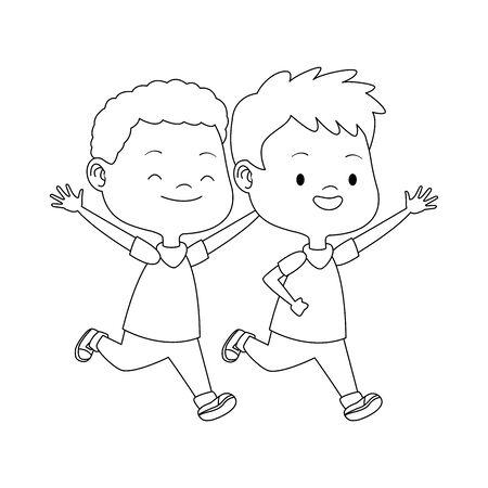 cartoon kids running icon over white background, vector illustration