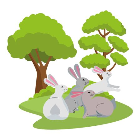 group of rabbits animals playing cartoons in the nature background scenery ,vector illustration graphic design.
