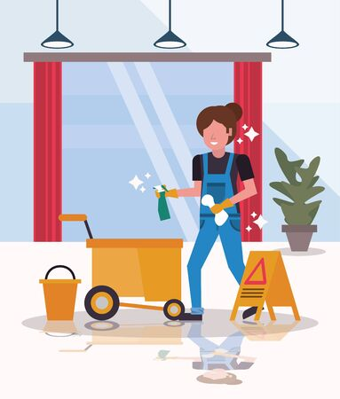 woman worker in housekepping with clean glass vector illustration design