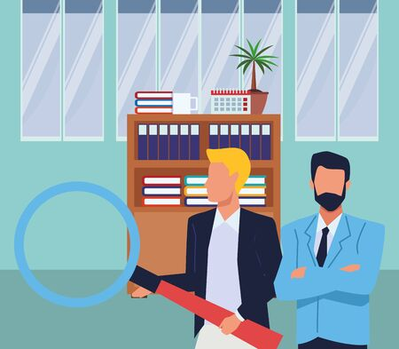 Two business partners working, executive entrepreneur teamwork inside office building scenery ,vector illustration graphic design.