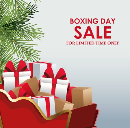 Boxing sale colorful design with sled with gift boxes and decorative pine branches over gray background, vector illustration Illusztráció