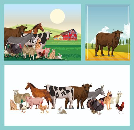 group of animals farm with stable in the camp vector illustration design Ilustração