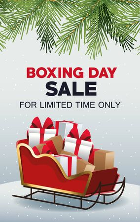 boxing day sale poster with santa claus sled and gifts vector illustration design Illusztráció
