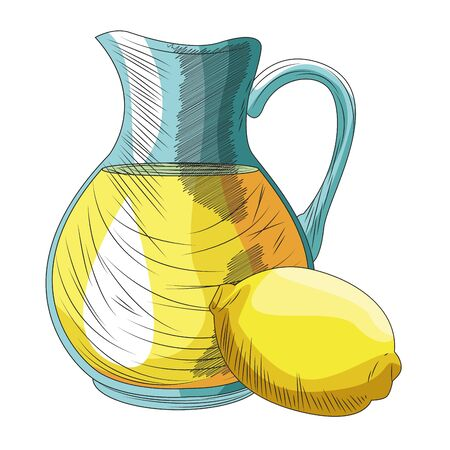 lemon and jug icon over white background, vector illustration Иллюстрация