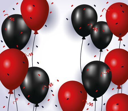 balloons helium floating colors red and black with confetti vector illustration design