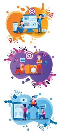 electronic devices and users with social media marketing icons vector illustration design