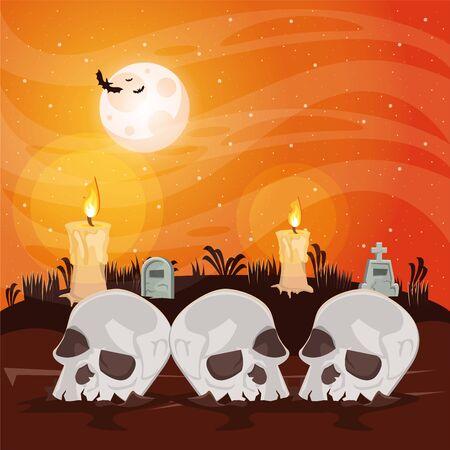 halloween dark scene with skulls heads vector illustration design Ilustração