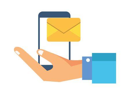 smartphone with envelope email postal service vector illustration design Standard-Bild - 139720624