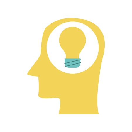 profile head with bulb icon over white background, vector illustration Illusztráció