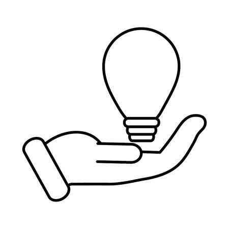 business hand lifting bulb light vector illustration design Vectores