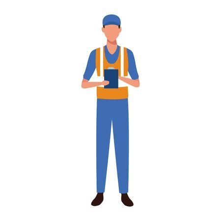 avatar mechanic standing over white background, colorful design, vector illustration