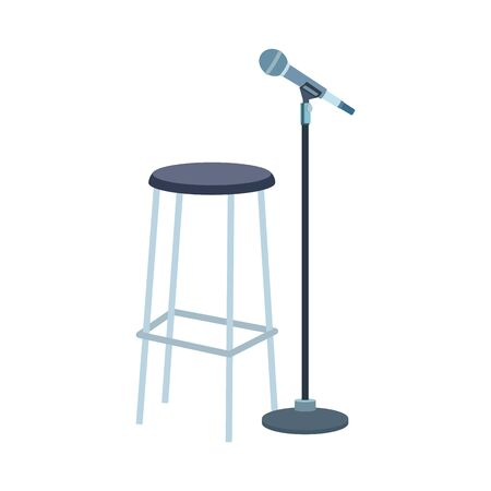 bar stool and microphone stand icon over white background, colorful design , vector illustration