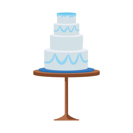wedding cake on a table icon over white background, vector illustration