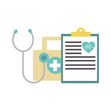 first aid kit, medical report and stethoscope over white background, vector illustration Ilustracja